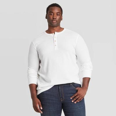 Men's Big & Tall Textured Long Sleeve Henley T-Shirt - Goodfellow & Co™