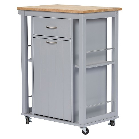 Yonkers Contemporary Kitchen Cart With Wood Top - Light Gray - Baxton Studio - image 1 of 5