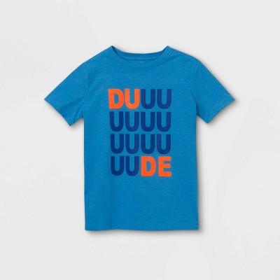 Boys' 'DUDE' Short Sleeve Graphic T-Shirt - Cat & Jack™ Medium Blue