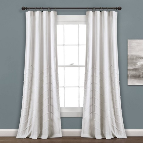 "Set of 2 84""x40"" Chenille Chevron Rod Pocket Light Filtering Window Curtain Panels White - Lush Dcor - image 1 of 4"