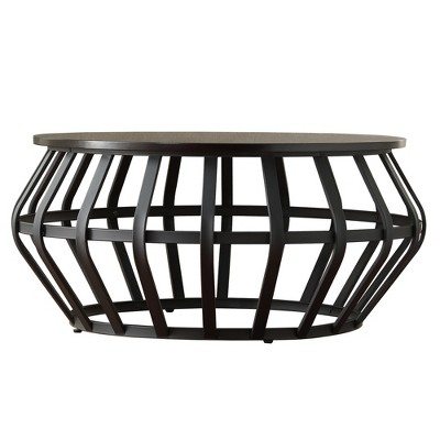 Merveilleux Olivery Round Accent Coffee Table Metal Frame Cage Slate Black   Inspire Q  : Target