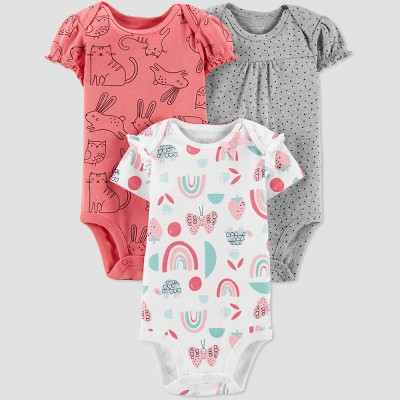 Baby Girls' 3pk Rainbow Bodysuit - Just One You® made by carter's Pink/White/Gray Newborn
