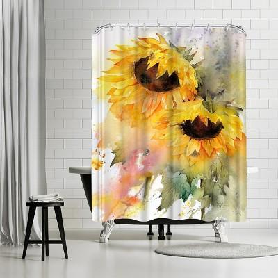 "Americanflat Sunflower Duo by Rachel Mcnaughton 71"" x 74"" Shower Curtain"