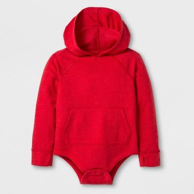 Toddler Boys' Adaptive Long Sleeve Hooded Bodysuit - Cat & Jack™ Red 2T