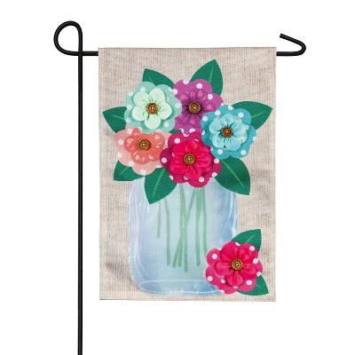Evergreen Polka Dot Floral Mason Jar Garden Burlap Flag