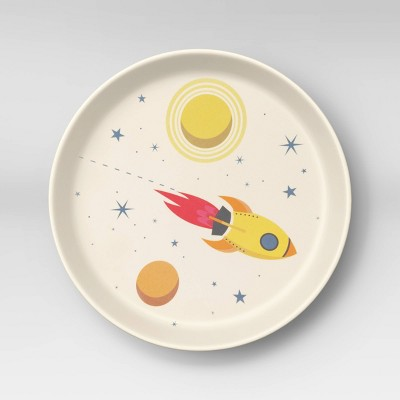 "7.3"" Melamine and Bamboo Spaceship Kids Plate - Pillowfort™"