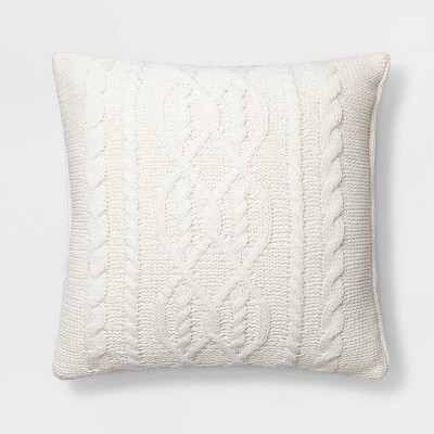Cable Knit Chenille Oversize Square Pillow Cream - Threshold™