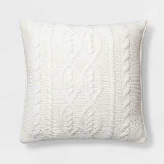 Cable Knit Chenille Oversize Square Throw Pillow Cream - Threshold™