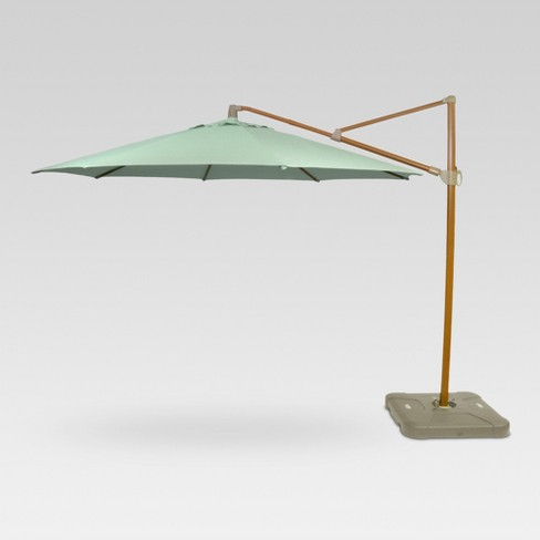 11 Offset Umbrella Aqua Medium Wood Finish Threshold Target