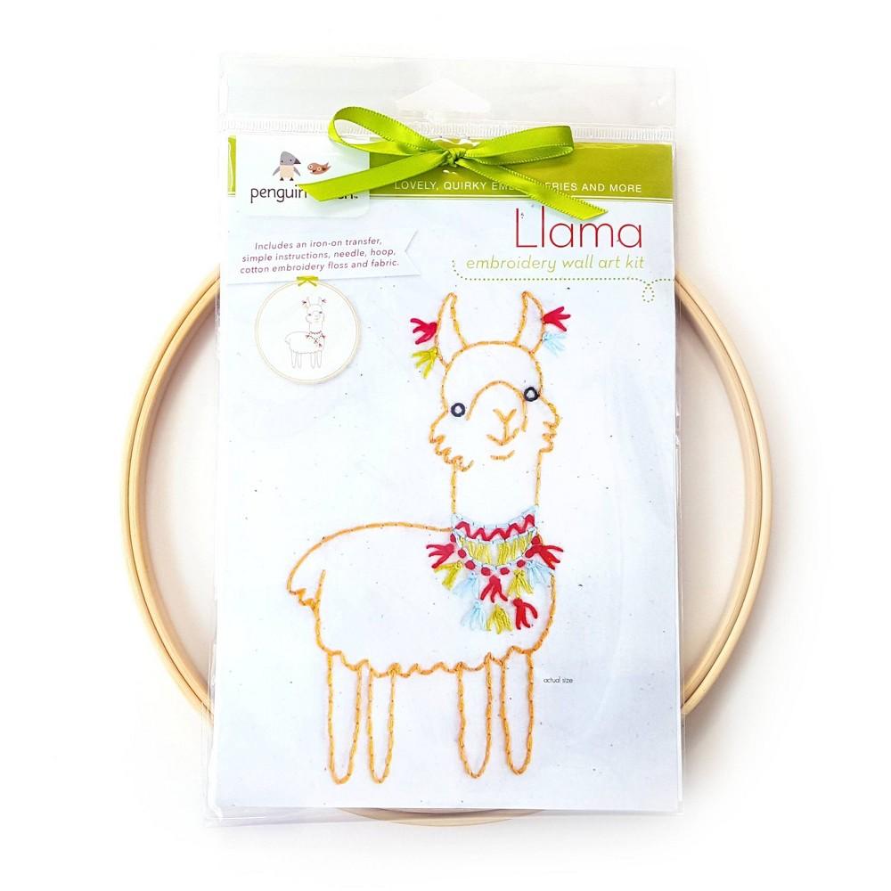 Image of Penguin & Fish Llama Embroidery Wall Art Kit