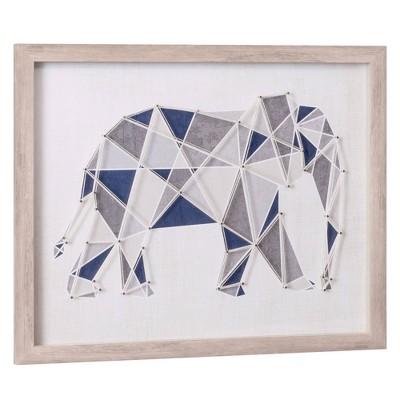 "18""x22"" Geometric Elephant String Art Framed Wall Art Print Decor - Nielsen Bainbridge"