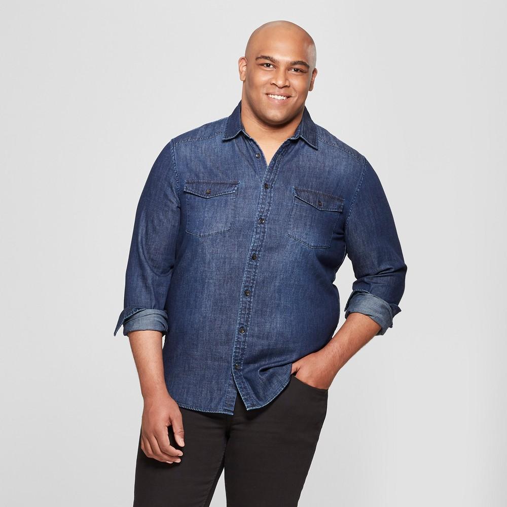 Men's Tall Casual Fit Long Sleeve Denim Shirt - Goodfellow & Co Banner Blue Xlt