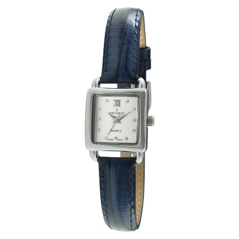 Women's Peugeot® Mini Square Crystal Marker Leather Strap Watch - Silver and Blue - image 1 of 2