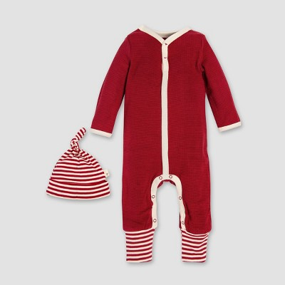 Burt's Bees Baby Organic Cotton Thermal Candy Cane Stripe Coverall & Hat Set - Red 6-9M