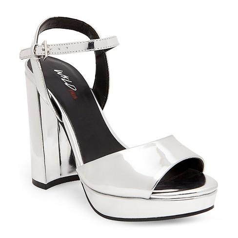 9450ba46ad9 Women s Wild Pair Kniteout Platform Block Heel Ankle Strap Sandal - Silver  6   Target