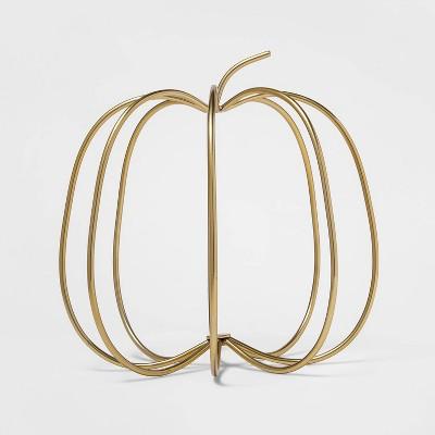 Gold Wire Harvest Pumpkin Decorative Accent Sculpture - Threshold™