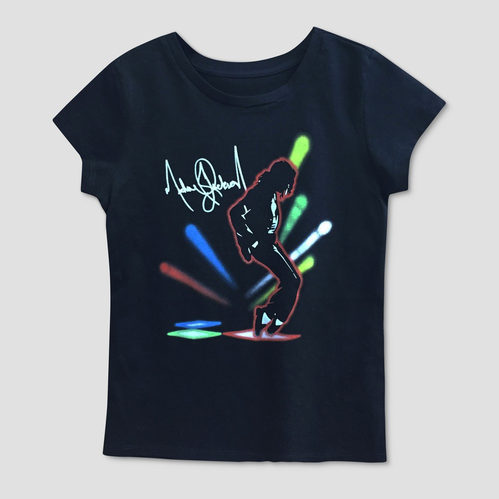Plus Size Girls' Michael Jackson Graphic Short Sleeve T-Shirt - Black L Plus