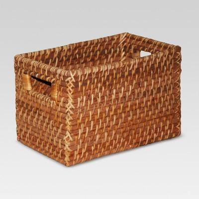 Rattan Rectangle Basket Brown (9 x6 )- Threshold™
