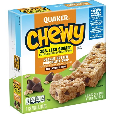 Quaker Chewy Low Sugar Peanut Butter Chocolate Chip Granola Bars - 8ct