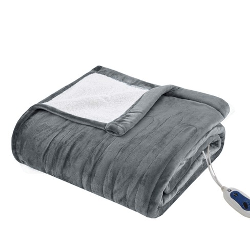 Reversible Ultra Soft Plush Electric Blanket with Bonus Automatic Timer - image 1 of 5