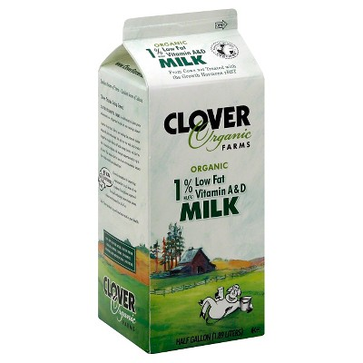 Clover Organic Farms 1% Milk - 0.5gal