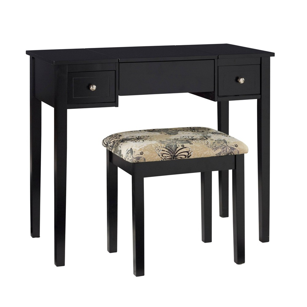 Butterfly Vanity and Stool Black - Linon, Silver Butterfly Vanity and Stool Black - Linon Color: Silver.