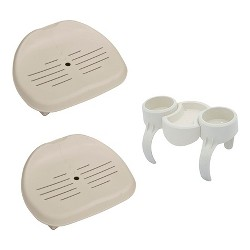 Intex Inflatable Pure Spa Hot Tub Removable Seat (2 Pack) + Drink & Snack Holder