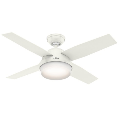 44 Dempsey With Light Fresh White Ceiling Fan Handheld Remote Hunter