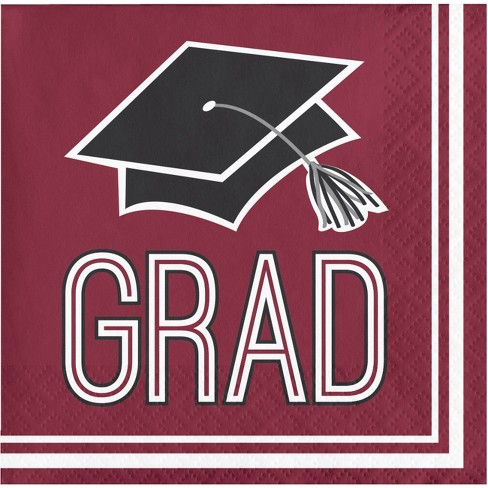4665e7b2e51 108ct Graduation School Spirit Disposable Beverage Napkins Burgundy ...