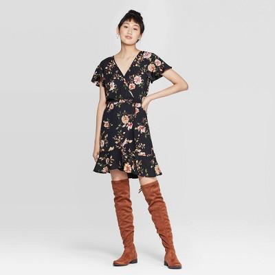 Women's Floral Print Short Sleeve Deep V Neck Wrap Dress   Xhilaration™ Black by Xhilaration