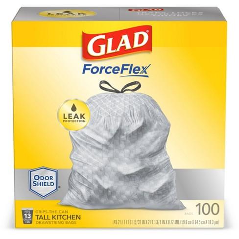 Glad ForceFlexPlus Tall Kitchen Drawstring Trash Bags - 13 Gallon White Trash Bag - OdorShield - image 1 of 4