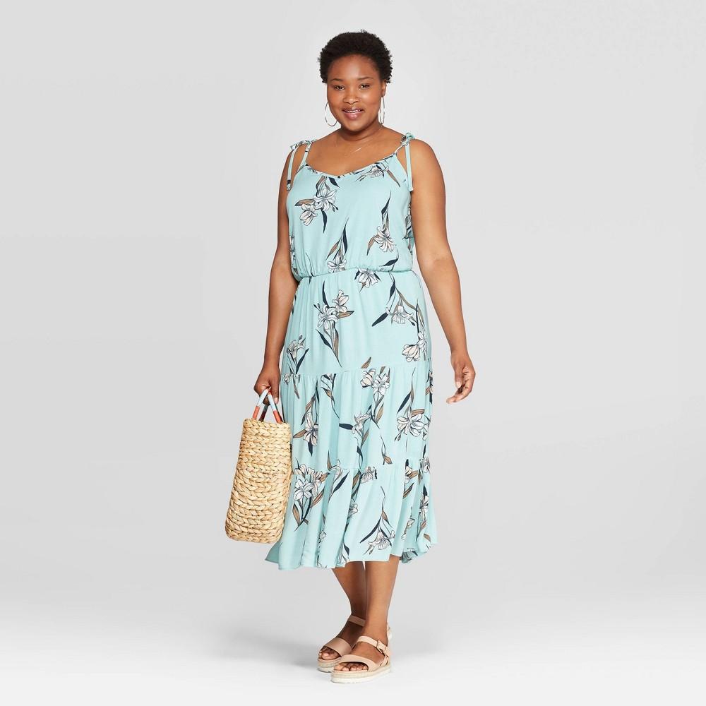 4a8e4887e04c Womens Plus Size Floral Print Sleeveless V Neck Tiered Gauze Maxi Dress Ava  Viv Light Blue 2X