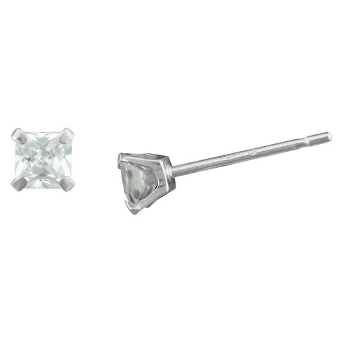 Cubic Zirconia Square Stud Earrings 10k White Gold (3mm) - image 1 of 1