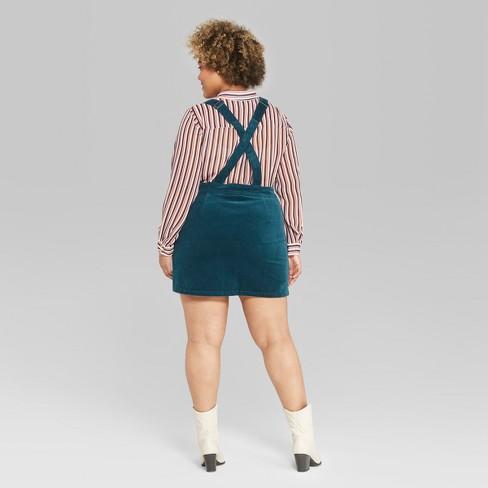 5a8dc19c1021e Women s Plus Size Corduroy Pinafore - Wild Fable™ Teal   Target