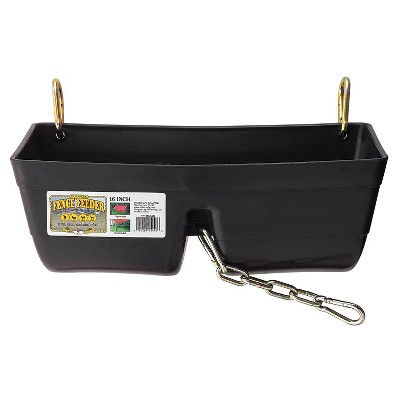 Little Giant FF16BLACK 9 Quart Heavy Duty Plastic Feed Trough Bucket Fence Feeder with Clips for Livestock & Pets, Black