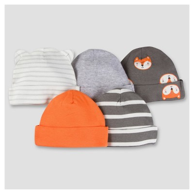 Baby Boys' 5pk Cap Set - Fox 0-6M - Gerber®