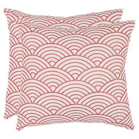 "Red Set Throw Pillow (18""x18"") - Safavieh® - image 1 of 2"
