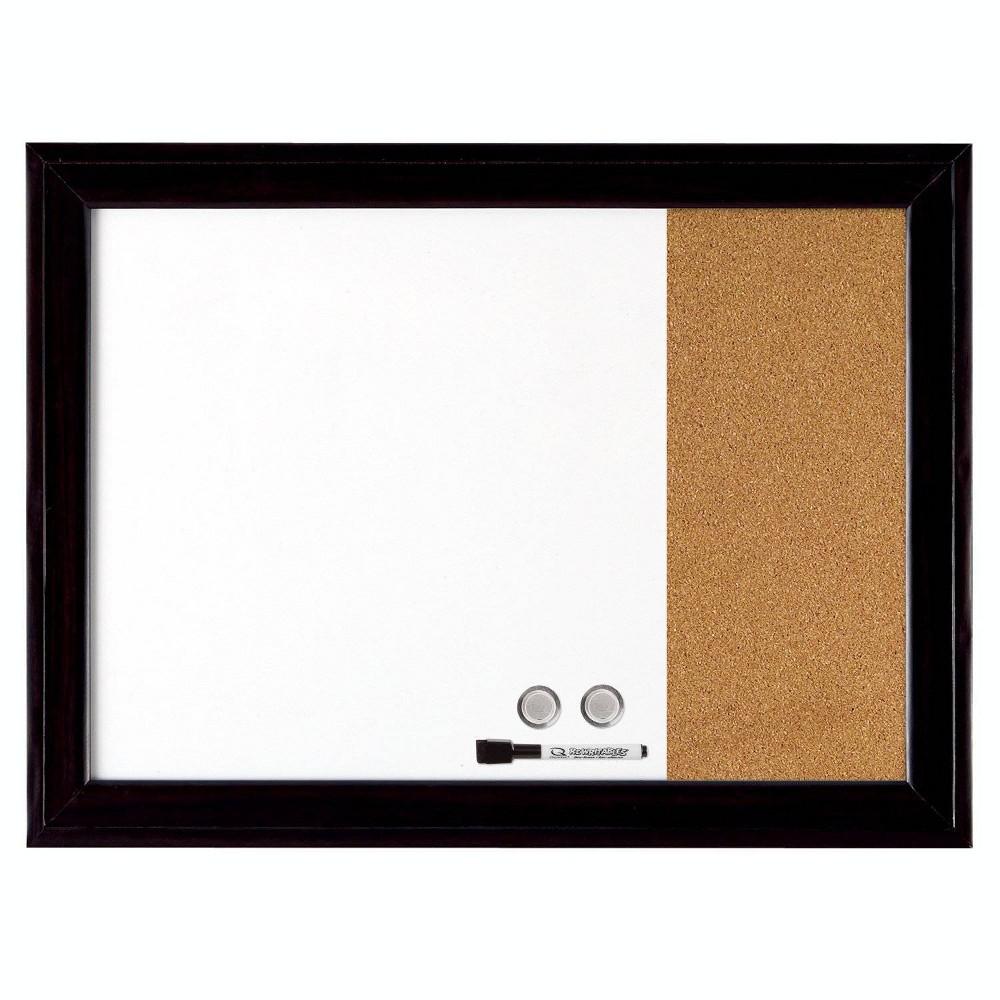 "Image of ""Quartet 17"""" x 23"""" Home Décor Magnetic Combination Board Dry-Erase & Cork, Black Frame"""