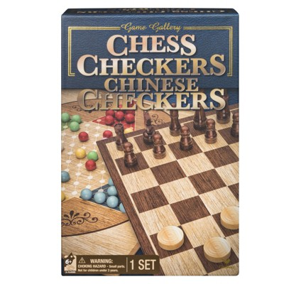 Game Gallery Chess, Checkers and Chinese Checkers Board Game Set