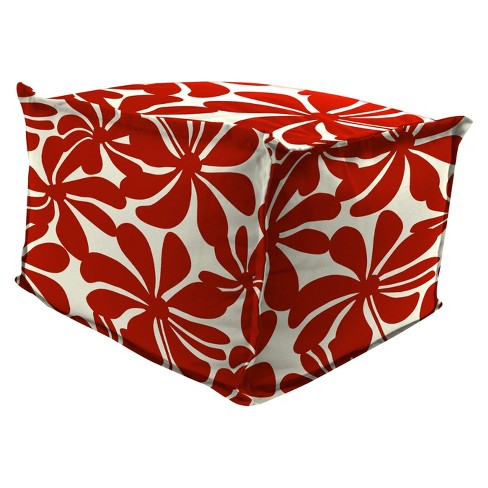 Outdoor Bean Filled Pouf/Ottoman In Twirly American Red  - Jordan Manufacturing - image 1 of 3