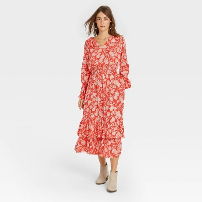 Women's Floral Print Balloon Long Sleeve Ruffle Collar Dress - Universal Thread™