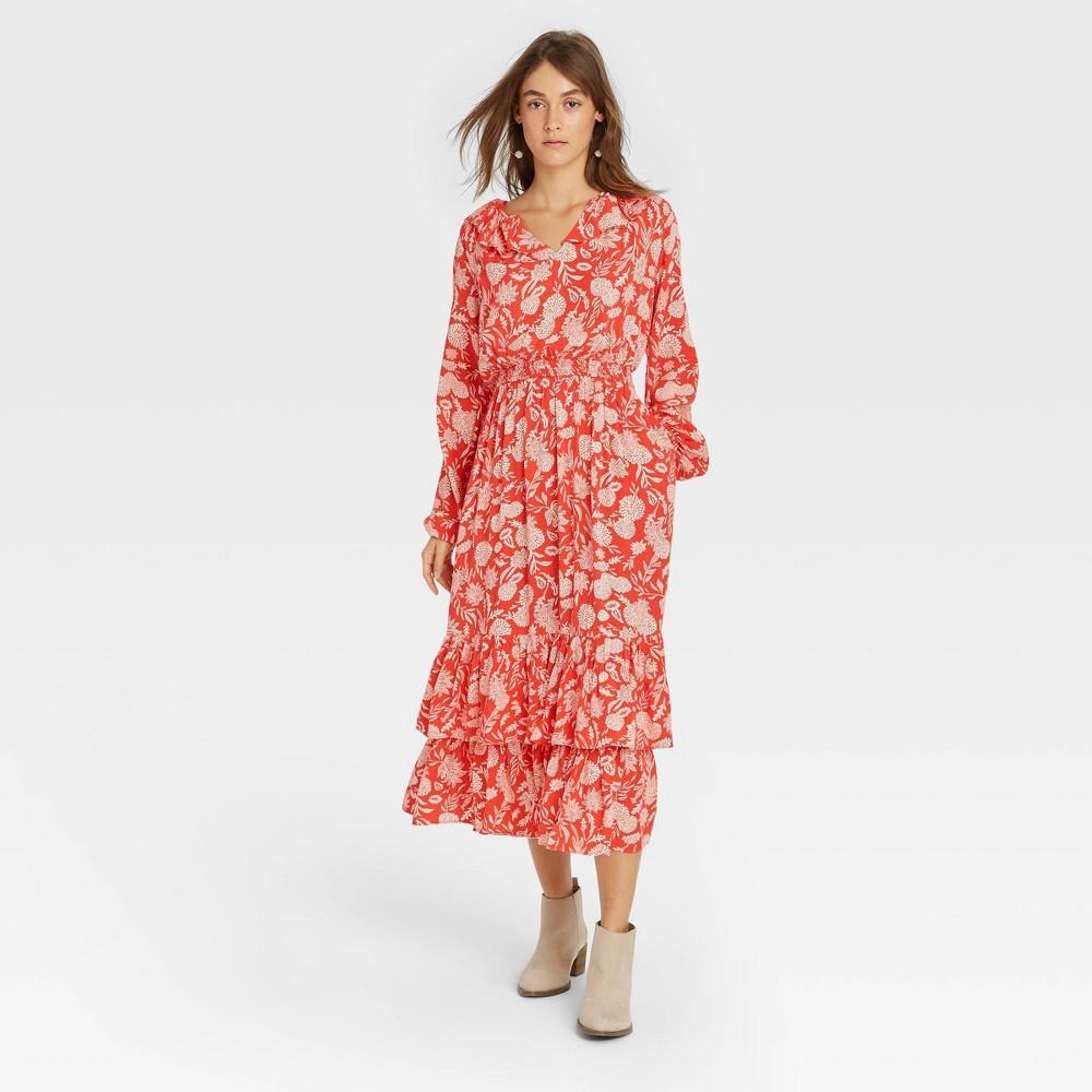 Women 39 S Floral Print Balloon Long Sleeve Ruffle Collar Dress Universal Thread 8482 Red Xs
