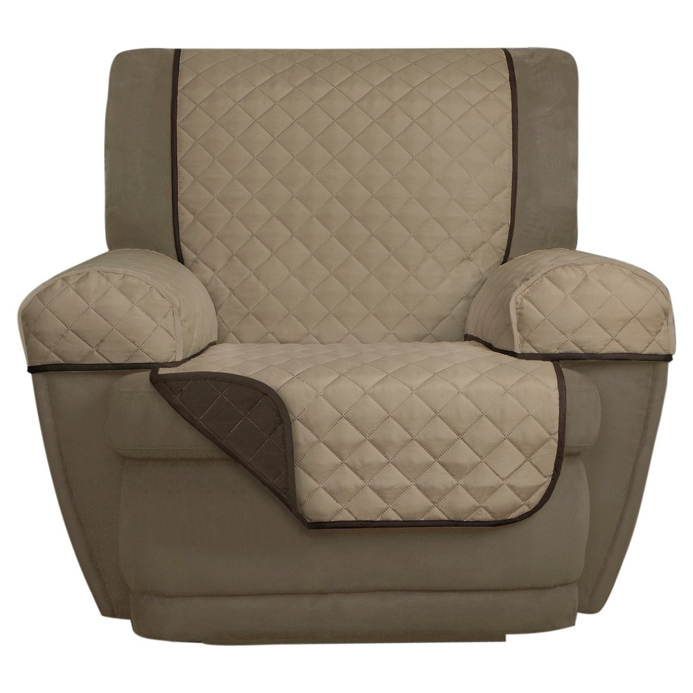 Image of Chocolate (Brown) Reversible Pet Cover Microfiber Recliner Slipcover (3 Piece) - Maytex