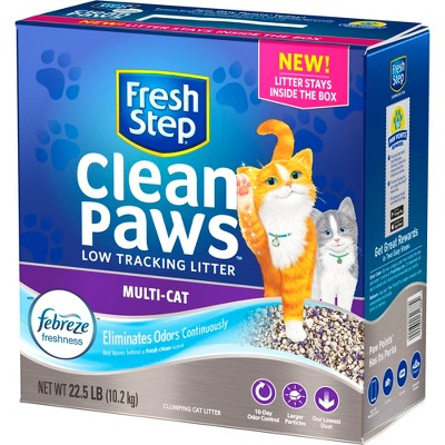 Fresh Step Clean Paws Multi-Cat with the Power of Febreze Scented Clumping Cat Litter - 22.5lbs