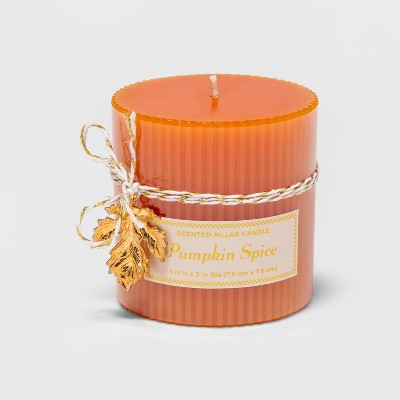 "3"" x 3"" Ribbed Pillar Pumpkin Spice Candle - Threshold™"