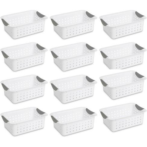 12) Sterilite 16228012 Small Ultra Plastic Storage Bin Organizer Baskets -White - image 1 of 4