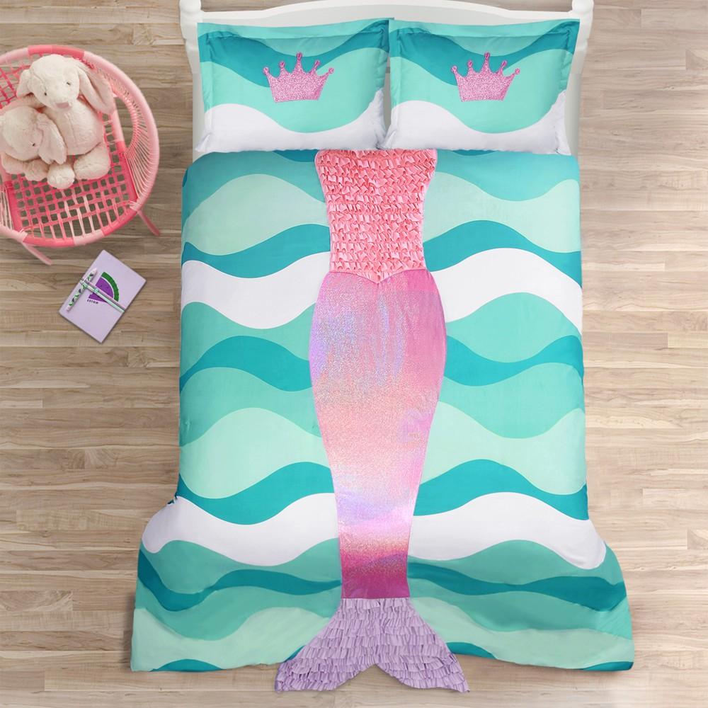 Pink Mermaid Ruffle Comforter Set (Twin) - Lush Decor