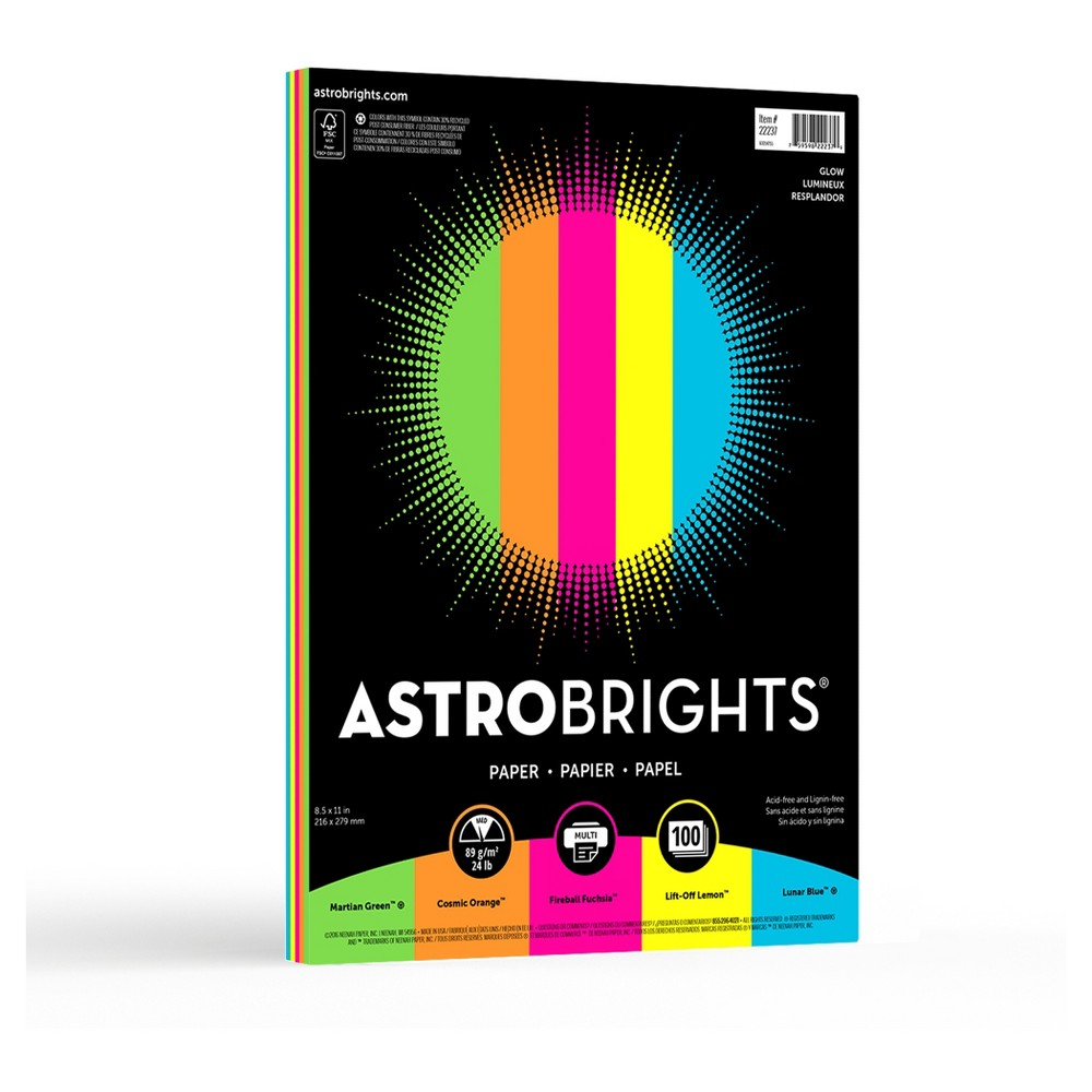 "Image of ""Astrobrights Color Paper, 8.5"""" x 11"""", 24lb/89 gsm, """"Glow"""" 5-Color Assortment, 100 Sheets"""