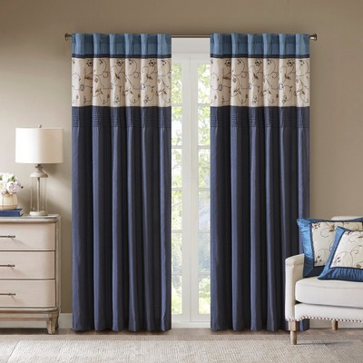 "84""x50"" Monroe Embroidered Light Filtering Curtain Panel Navy"