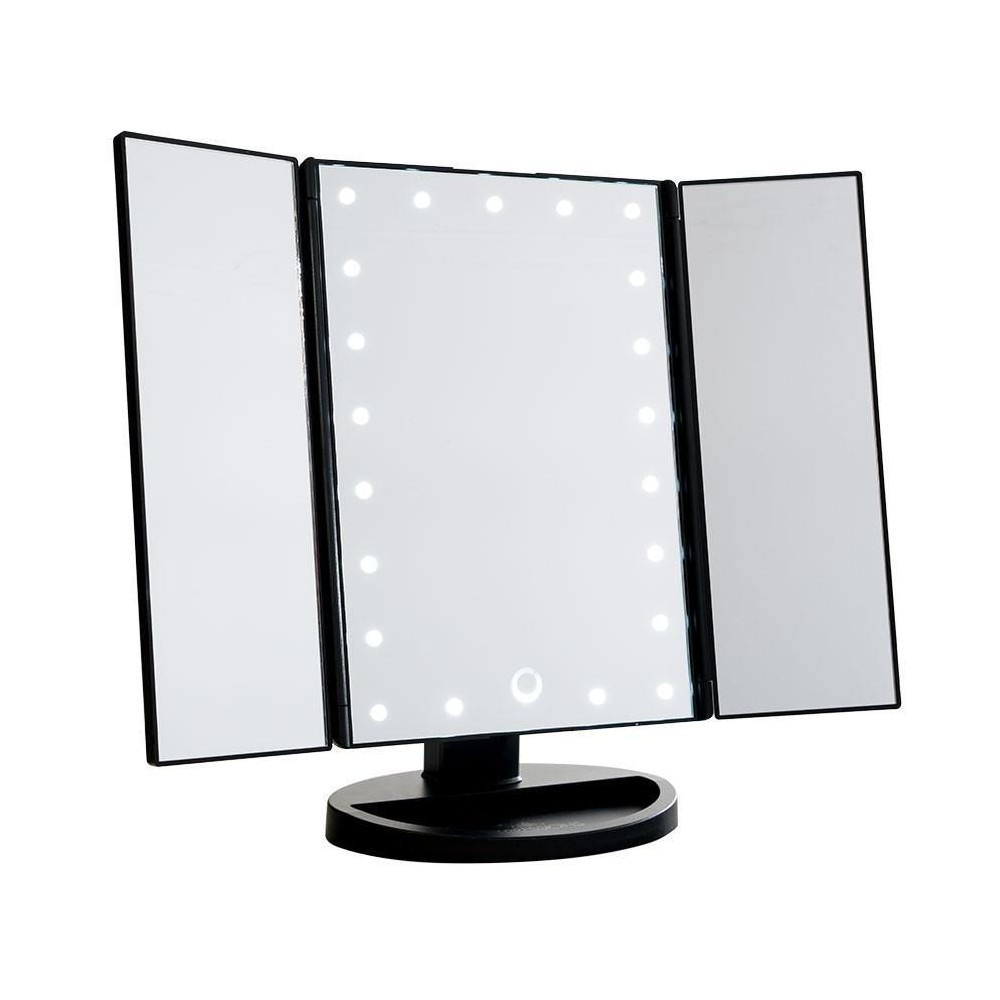 Image of Impressions Vanity Touch 3.0 Trifold Dimmable LED Makeup Mirror - Black